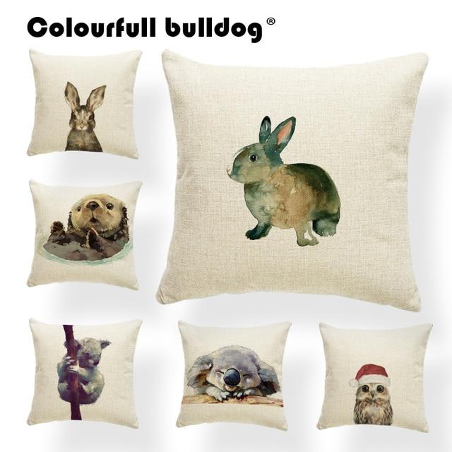 Animali Di Natale Cuscino Coniglio di Pasqua Del Fumetto Acquerello Gufo Libro L