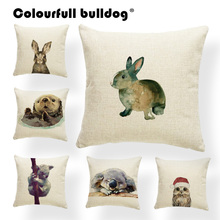 Decoration Book-Otter Christmas-Pillow Cushions Animals Cartoon Wolf Koala Rabbit Watercolor
