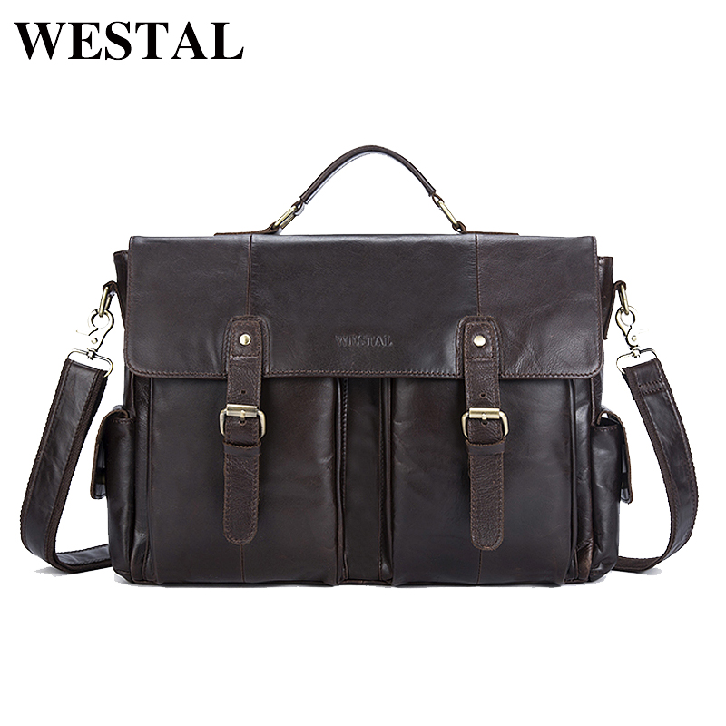 WESTAL Genuine Leather Men Bag Men's Briefcases Male Messenger Shoulder Crossbody Bags Vintage Business Laptop Bag Handbag 8924 men and women bag genuine leather man crossbody shoulder handbag men business bags male messenger leather satchel for boys