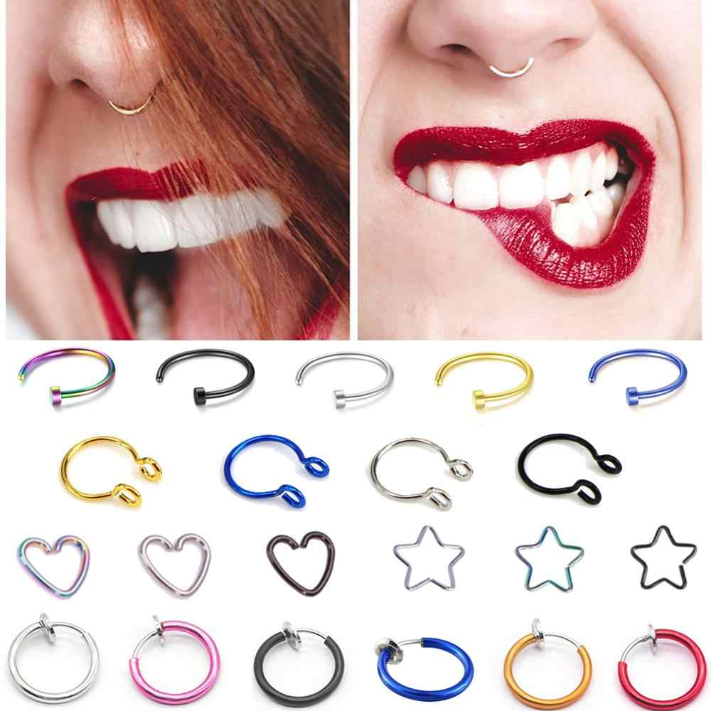 1 pc Fake Nose Ring Goth Punk Lip Ear Nose Clip On Fake Septum Piercing Nose Ring Hoop Lip Hoop Rings Earrings