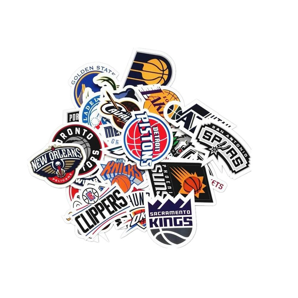 Image 3 - 30Pcs / lot NBA Club Logo Sticker Waterproof Sticker For Car Laptop Trunk Skateboard Guitar Sticker Bike Decal Car Styling B1333-in Car Stickers from Automobiles & Motorcycles