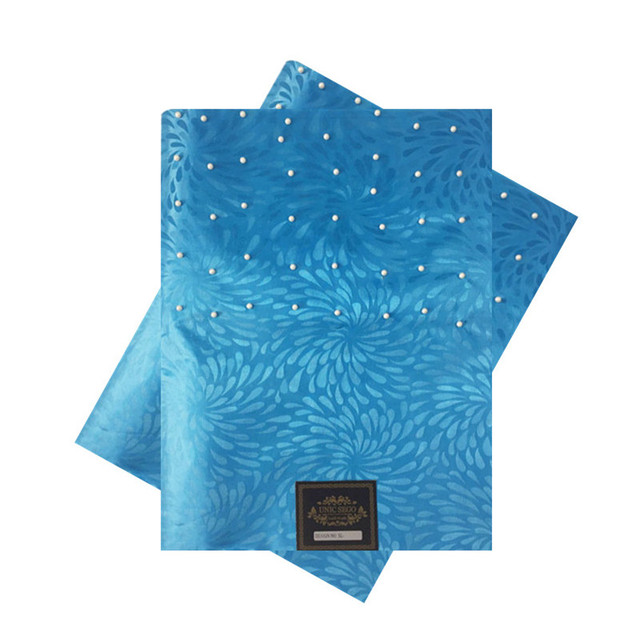SL-1536, 2017 החדש עיצוב, אפריקאי סגו headtie עם חרוזים, Gele, 2 יח'\סט, משמש למסיבה, חתונה, טורקיז כחול