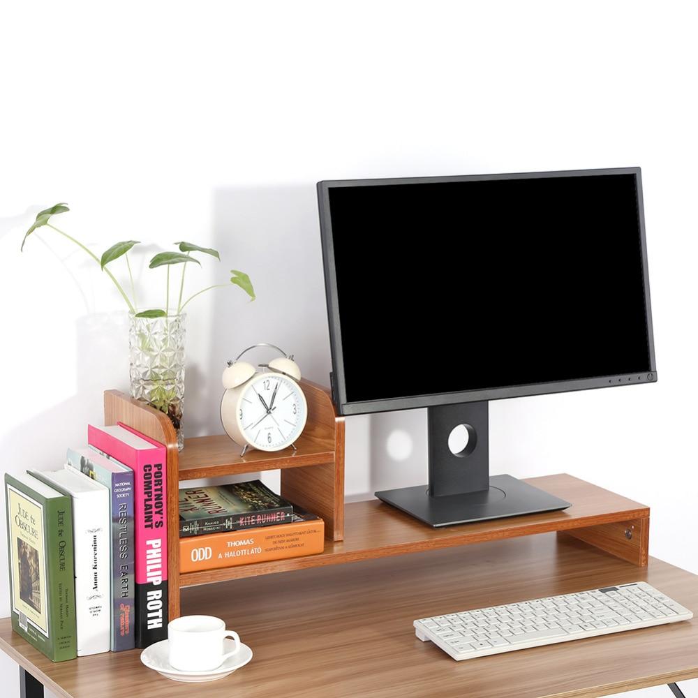 Autorización de Monitor de ordenador portátil soporte elevador ordenador organizador de escritorio teclado Mouse almacenamiento ranuras para suministros de oficina