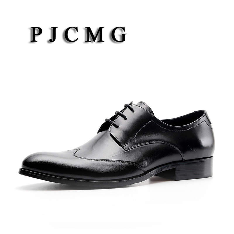 PJCMG New Comfortable Black/Red Genuine Leather Lace-Up Pointed Toe Flat Man Dress Wedding Casual Classic Gentleman ShoesPJCMG New Comfortable Black/Red Genuine Leather Lace-Up Pointed Toe Flat Man Dress Wedding Casual Classic Gentleman Shoes