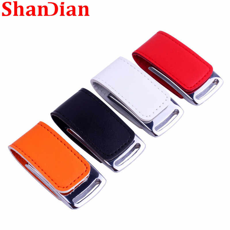 SHANDIAN Genuine Leather & metal cadeia chaveiro USB creativo da forma flash drive USB memory stick 2.0 GB 32 64GB pen drive Flash drive
