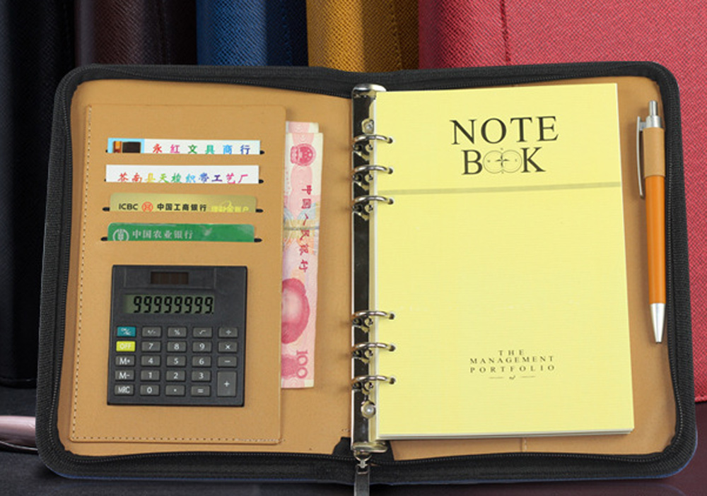 2016 PU Pad folio organizer planner ring binder leather notepad multifunctional notebook with calculator loose-leaf folder a6 zhongjia zj 5922 loose leaf notebook w 8 digit calculator artificial leather zipper cover black