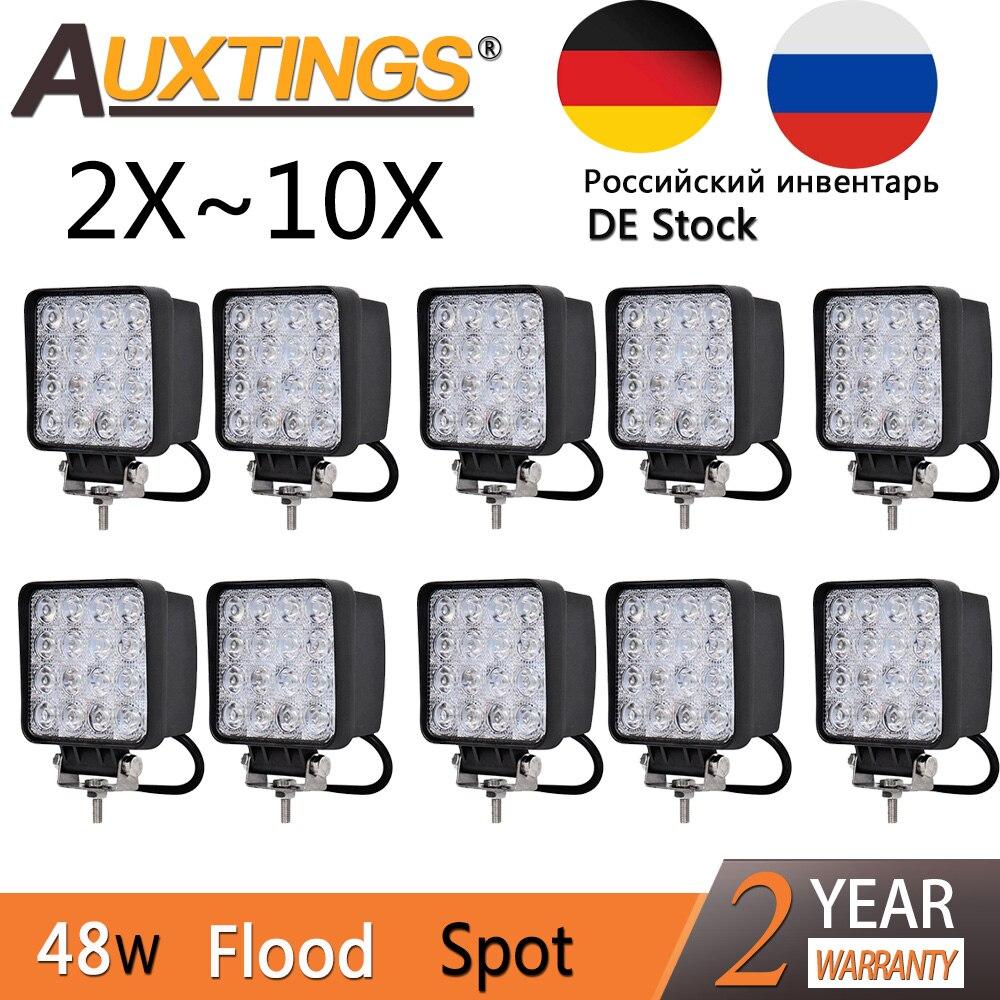 Auxtings, 2 шт., 10 шт., водонепроницаемый, 48 Вт, прожектор, светодиодный рабочий свет, бар, водонепроницаемый, CE RoHS, внедорожный грузовик, Автомобил