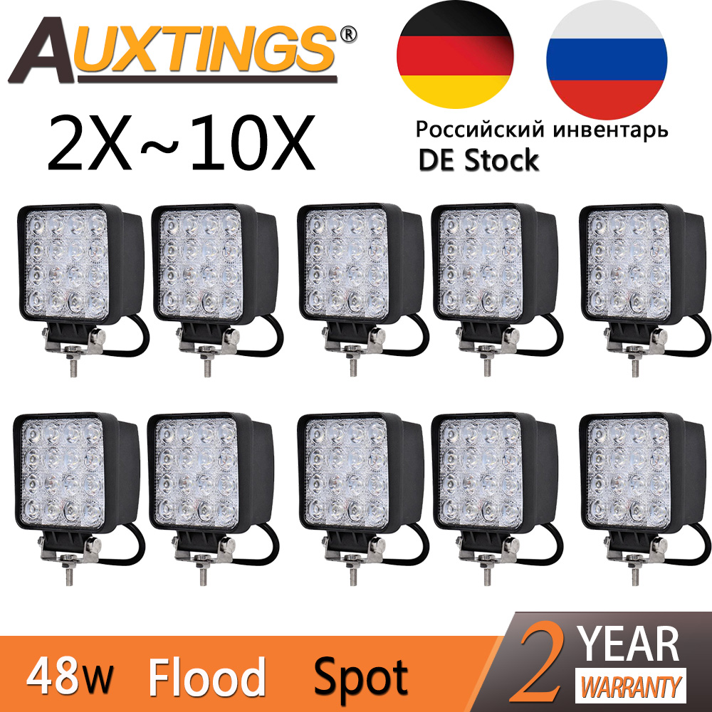 Auxtings 2pcs 10pcs waterproof 48w Flood/Spot led Work Light bar waterproof CE RoHS offroad truck car LED work light 12v 24v