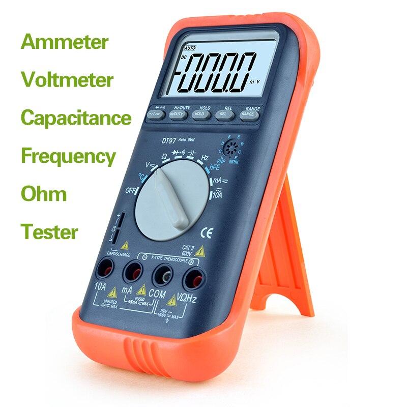 Auto Range Tester Multimeter Multimeter Backlight AC/DC Ammeter Voltmeter Ohm Capacitance Frequency Tester an8009 auto range lcd digital multimeter full protection ac dc voltmeter ammeter ohm capacitance ncv electrical tester