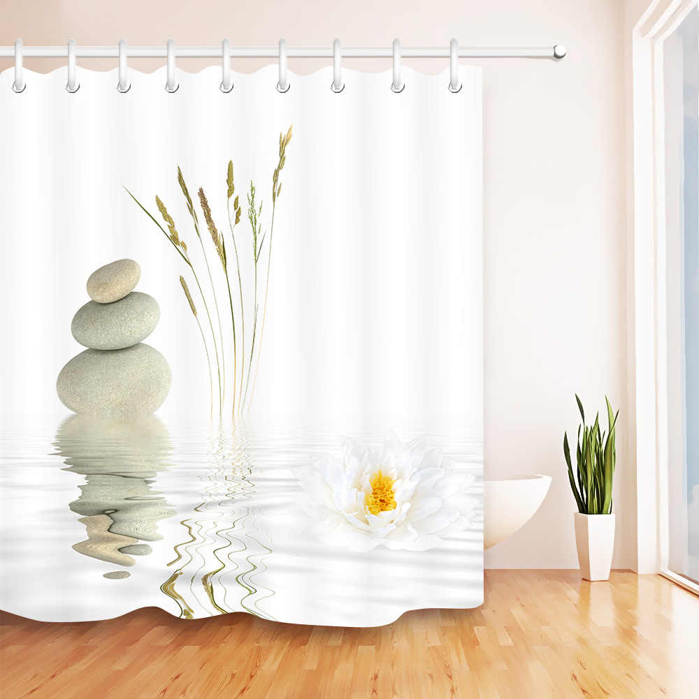 الحجارة والأبيض لوتس في دش المياه الستار زن سبا الحمام الأبيض مقاوم للماء اضافية طويلة البوليستر النسيج لحوض الاستحمام ديكور