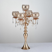 Free shiping 5 arms metal Gold/ Silver candelabras with crystal pendants wedding candle holder Event centerpiece 10 pcs