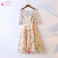 Champagne Flower Embroidery Homecoming Dresses Short Party Dress Cocktail Gowns Half Sleeve abiye gece elbisesi ZHM011