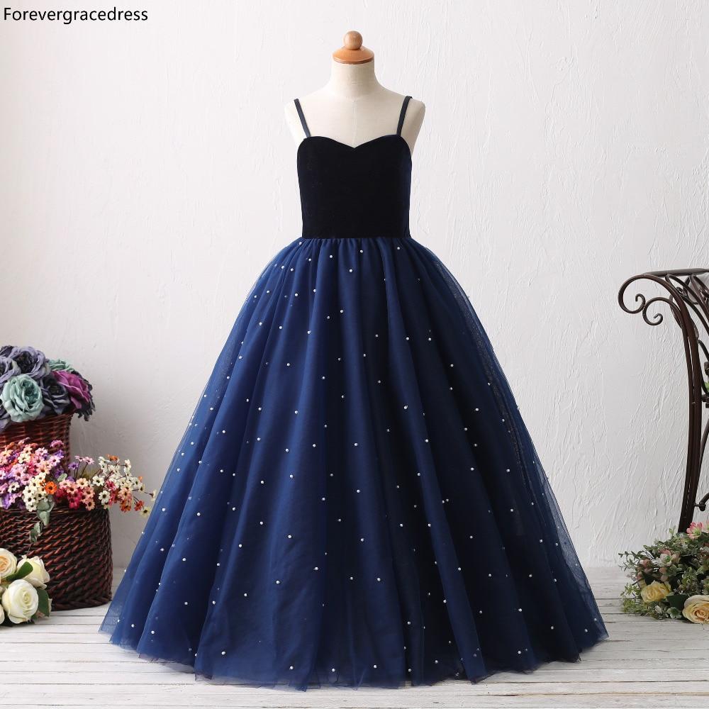 Forevergracedress Navy Blue   Flower     Girls     Dresses   2019 Ball Gown Spaghetti Straps Sleeveless Kids Pageant Children Gowns
