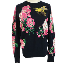 Women Autumn Spring France Russia Porpular Bee Flower Embroidery All-match Knitted Streewear Wool Vintage Sweater Tops Female
