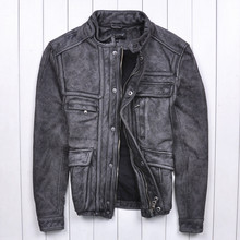 2015 Original The new Do the old Retro Gray Collar Short paragraph Calfskin  Men's leather jackets Motorcycle Clothing Top
