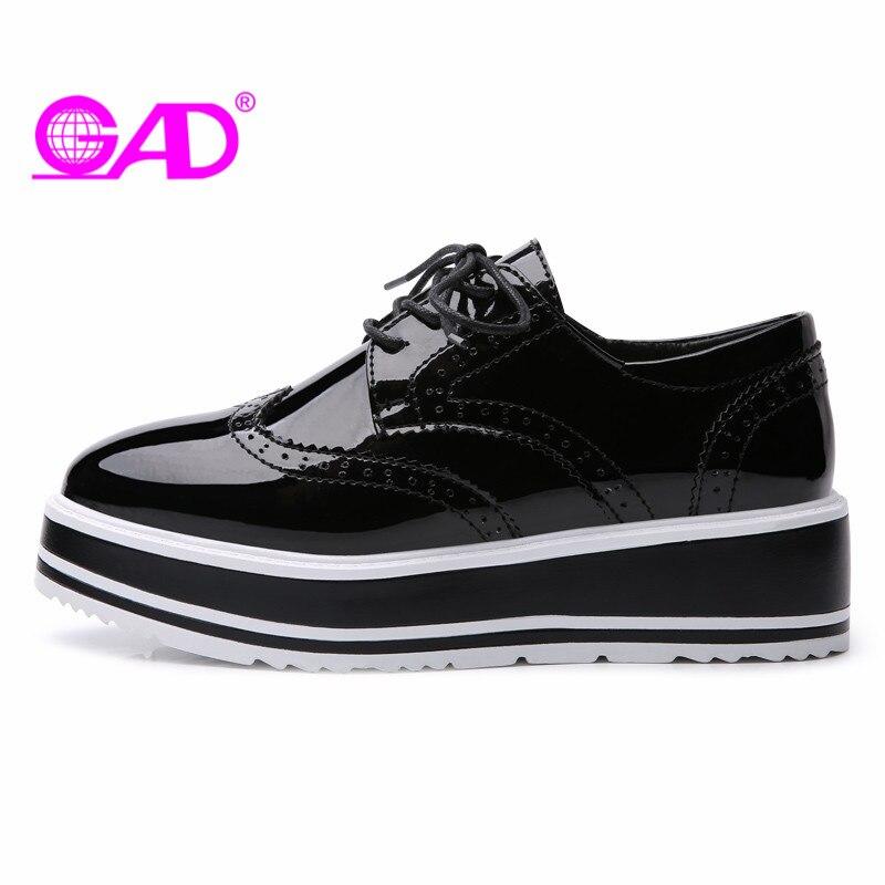 GAD Women Flat Platform Shoes Fashion Design Round Toe Lace-up Women Casual Shoes British Style