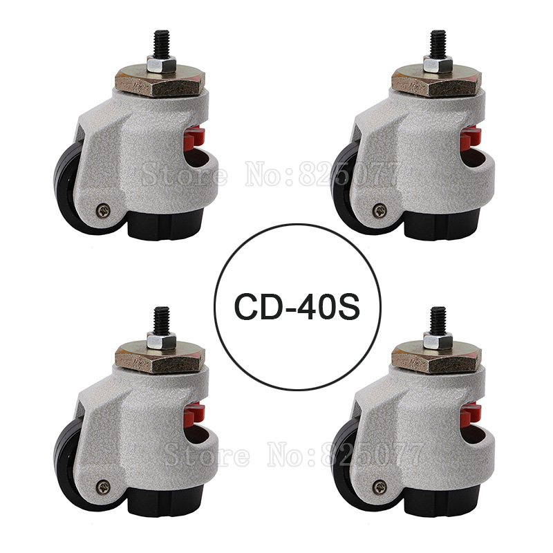 4PCS CD-40S Load Bearing 50kg/pcs Level Adjustment MC Nylon Wheel and Aluminum Pad Leveling Caster Industrial Casters JF1557 5 swivel wheels caster m12 industrial castor universal wheel nylon rolling brake medical heavy casters double bearing wheel