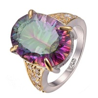 Huge Rose Rainbow Crystal Zircon 925 sterling silver Ring Size 6 7 8 9 10 F1305