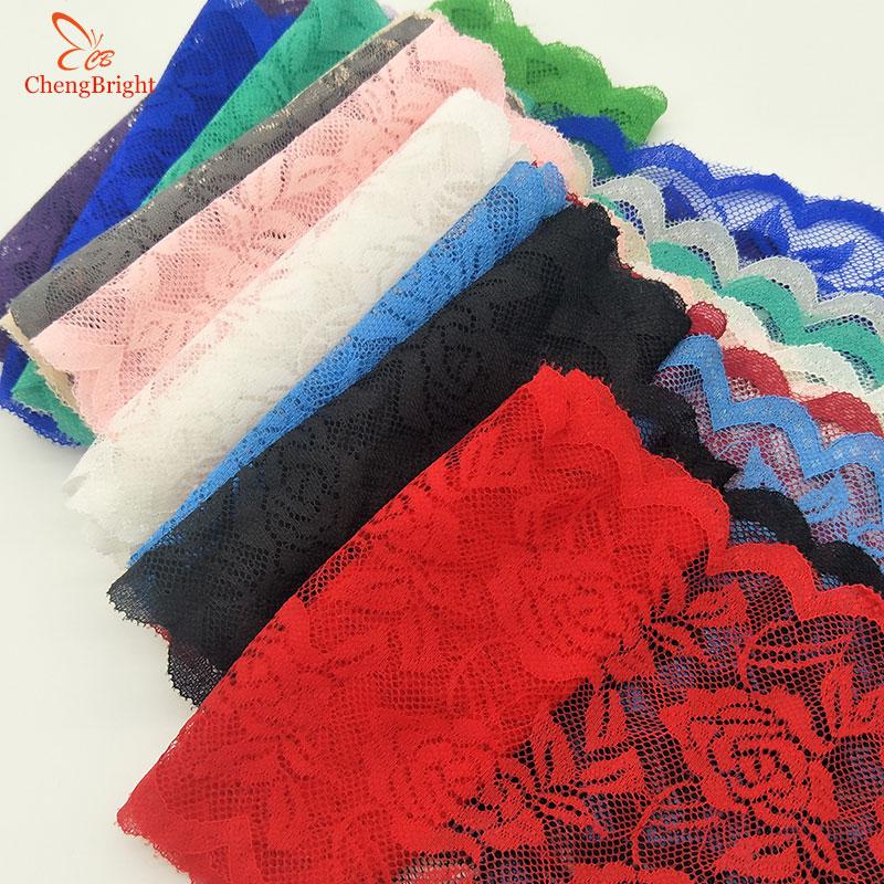 ChengBright High Quality 2yards Rose Pattern Stretch Lace Fabric  Ribbon Lace Trim Ribbon Diy Craft Fabric 15cm/6inch Width
