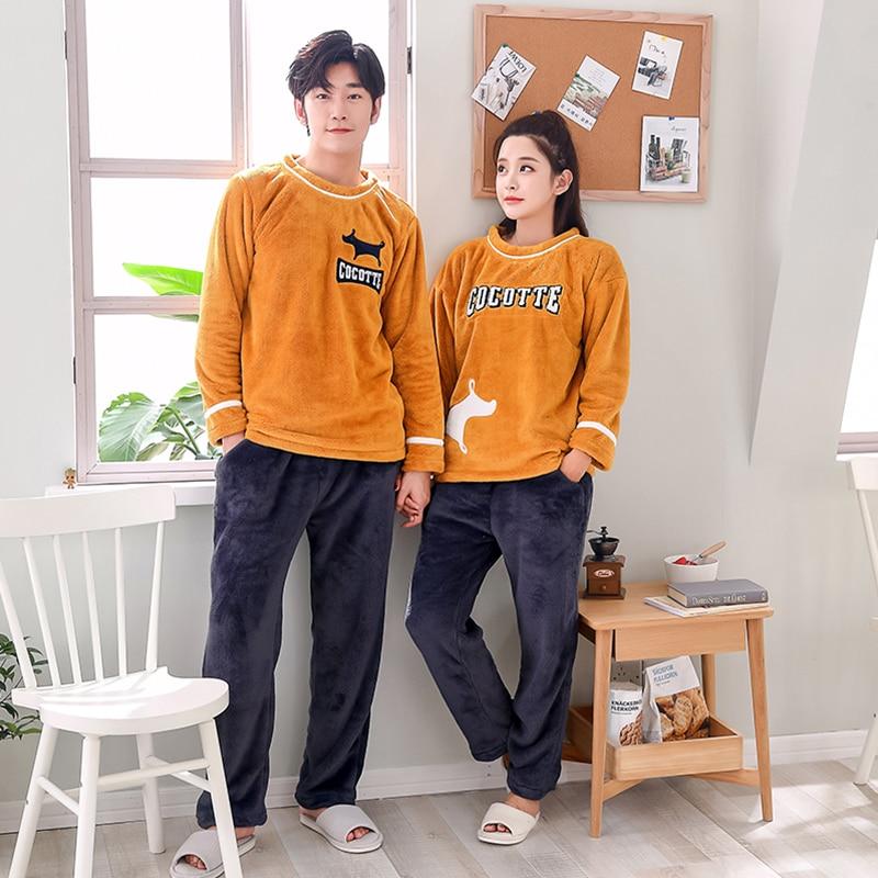 BZEL Long-Sleeve Couple Coral Fleece Pajamas Cute Winter Flannel Warm Love Mens Pyjamas Women's Sleep Lounge Couple Pijama Sets