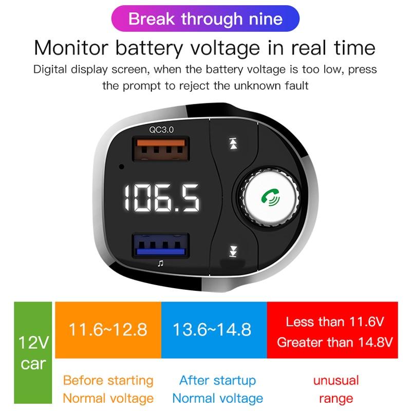 USB Charger Wireless Bluetooth Car Kit FM Transmitter modulator Handsfree  Carkit Audio Radio Music Mp3 Player for iPhone Xiaomi