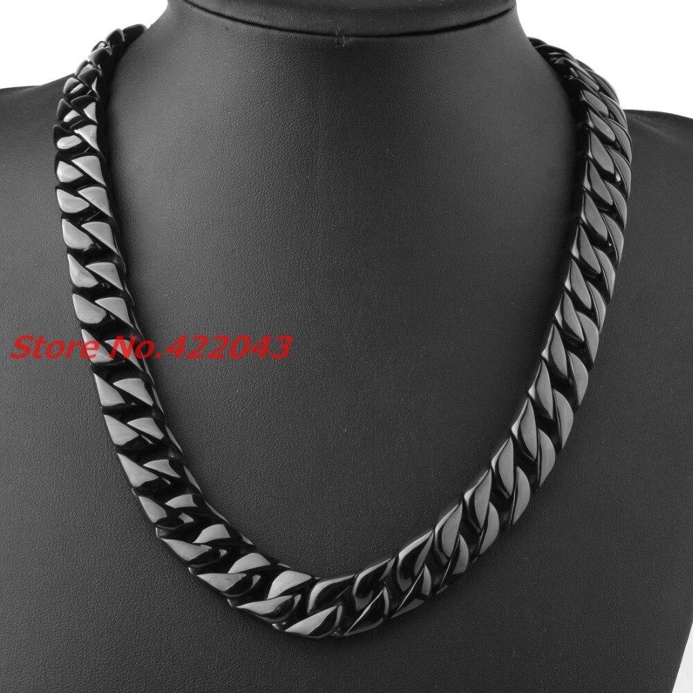 24 15 MM Heavy Cool Zwart Kleur 316L Rvs Mens Curb Cubaanse Collier, Mode sieraden Voor Mens Jongens 203g Keten - 6