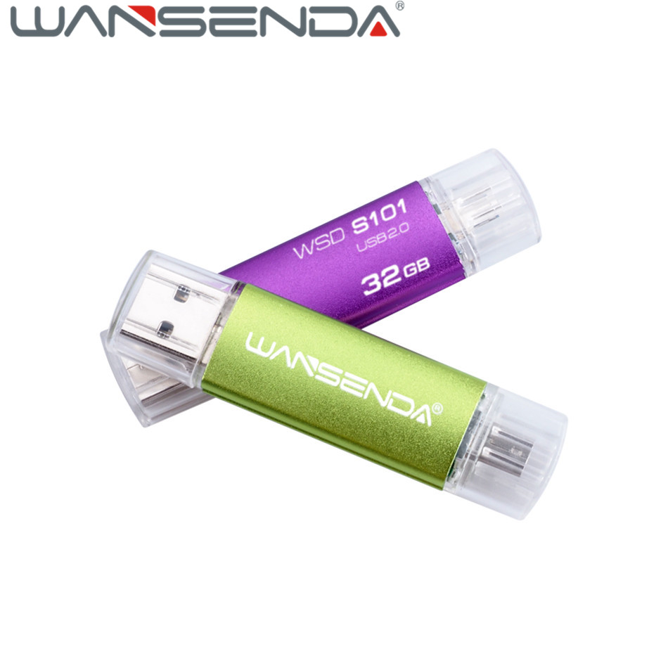 WANSENDA OTG USB Flash Drive 128GB 64GB 32GB Android smartphone pen drive 16GB 8GB usb 20 stick 4GB pendrive gift U disk