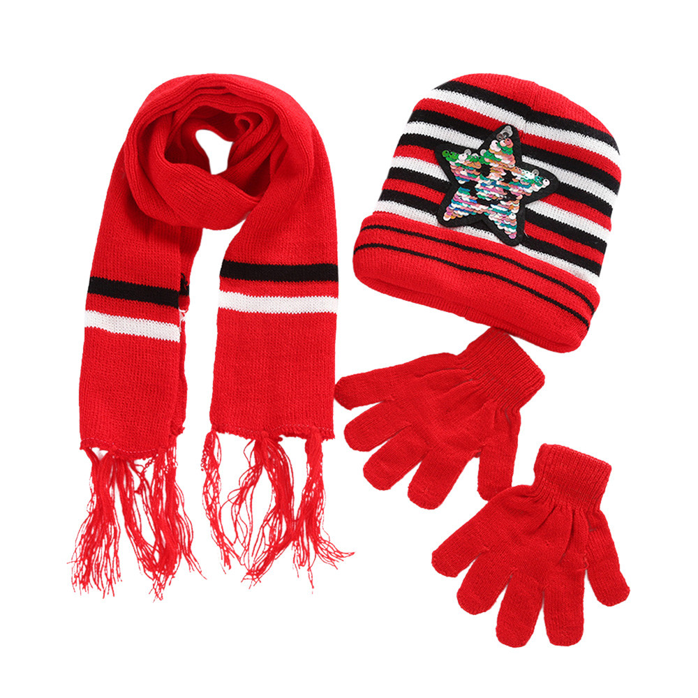 Kinder Häkeln Hut Pelz Woolen Knit Warm Caps Handschuhe Anzug Winter Kinder Erwärmung Kit Sep5 Aromatischer Geschmack Schal
