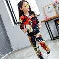 Activo niños ropa niñas establece 2016 primavera otoño chaqueta de cremallera pantalones ropa niños set del bebé niños del juego del deporte del chándal