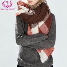 MYCOURSE 140x135cm Winter Acrylic Faux Cashmere font b Tartan b font Plaid Scarf Blanket Shawl Designer