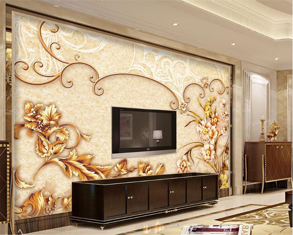 Beibehang Alice Rose Flor 3d Papel De Parede Europeu M Rmore Mural  -> Mural Parede Sala