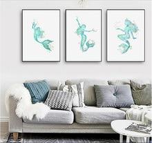 Nordic simple spray paintings painted on canvas Mermaid decorative painting love fish frameless painting triad paintings