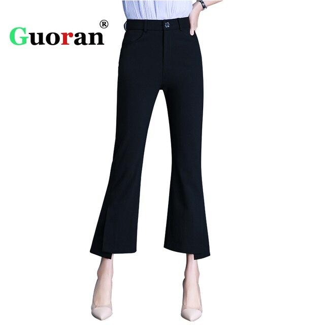 {Guoran} Формальные Брюки для Для женщин расклешенные брюки женские Высокая Талия Femme Pantalon плюс Размеры 5XL Для женщин брюки Разделение дамы брюки
