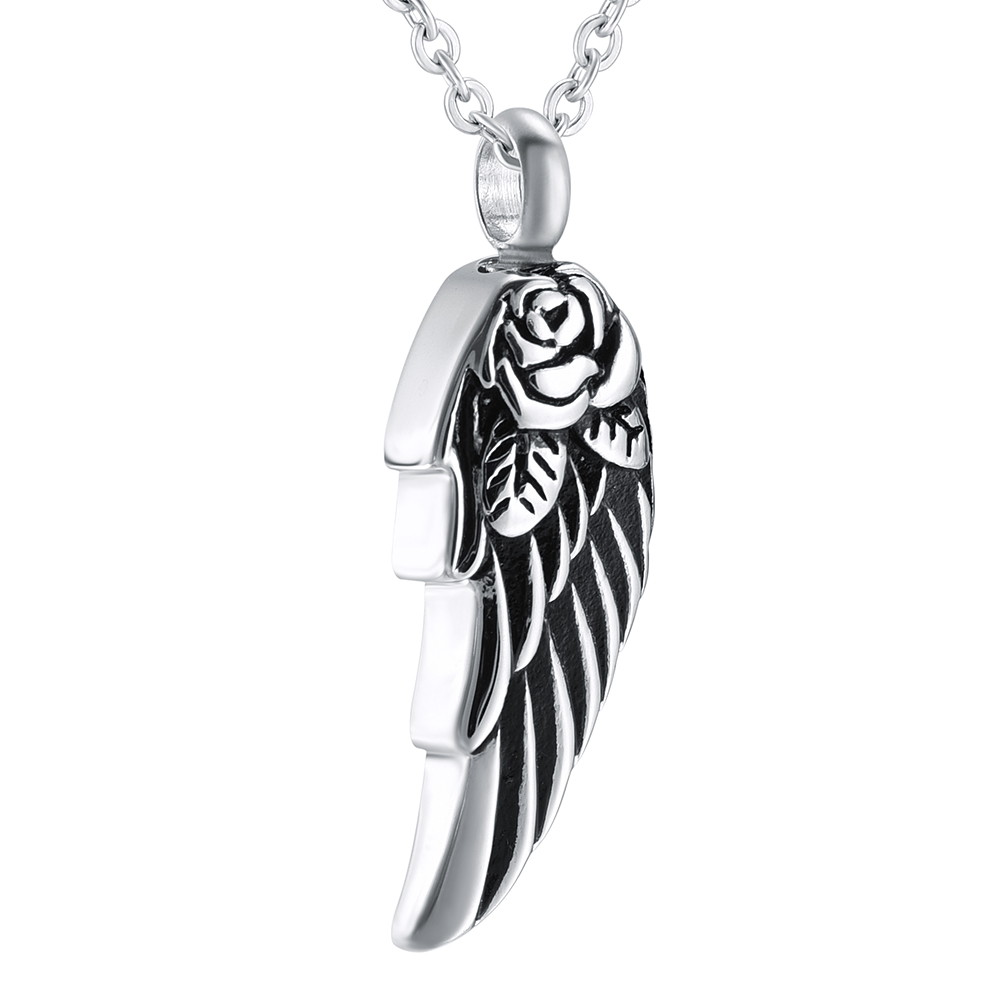 New Feather Heart Urn Cremation Pendant Ashes Holder Memorial Necklace