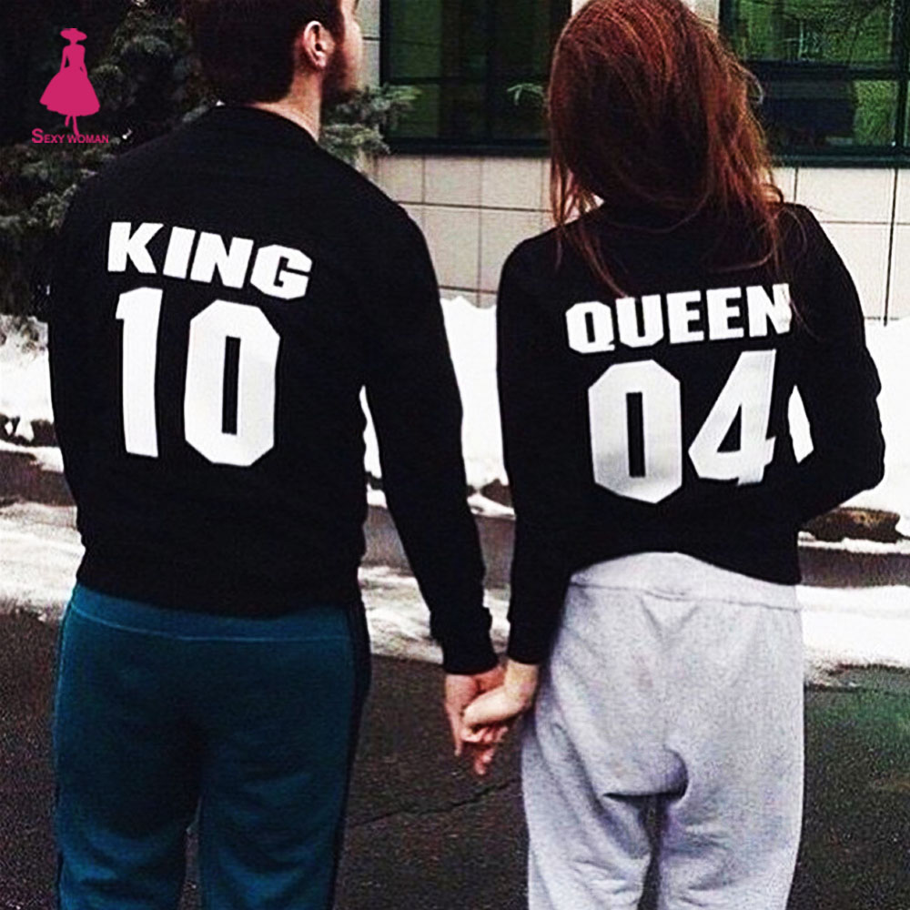 Letter Queen King Print Sweat Hoodie Femme Crewneck Pull Felpe Nice Cute Donna Chandal Mujer Jogging Buzo O-Neck Sweatshirt Tops
