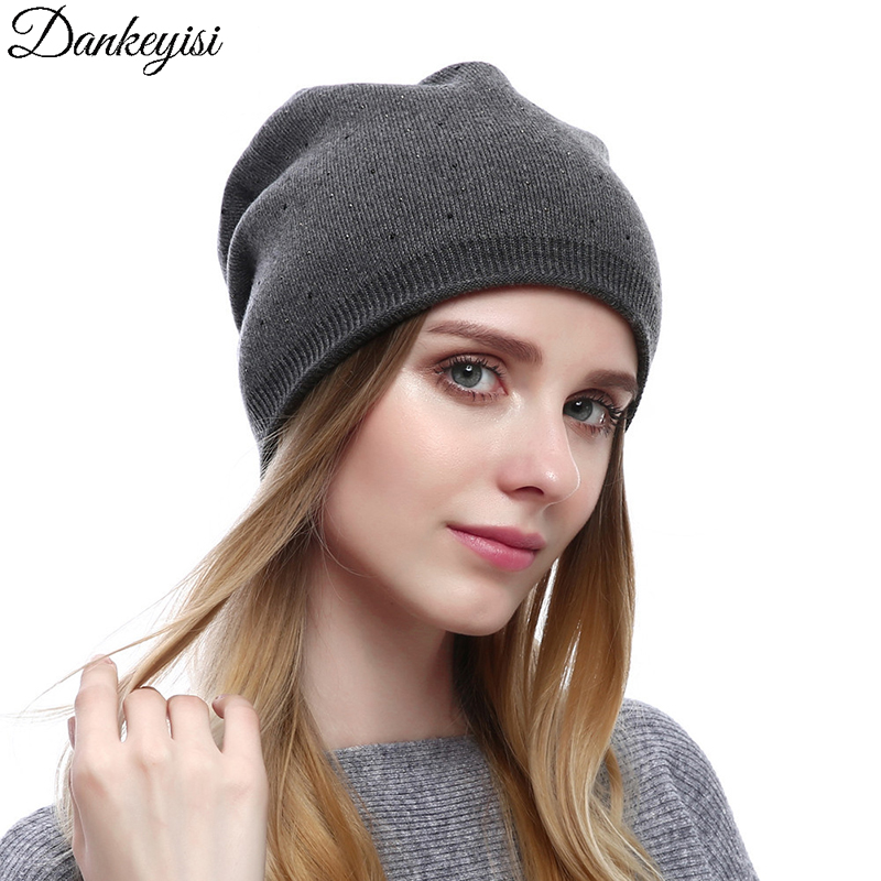 DANKEYISI 2017 Winter Cashmere Knitted Hats Headgear Warm Wool Hats For Women Hat Cap For Girls Female Fall   Skullies     Beanies