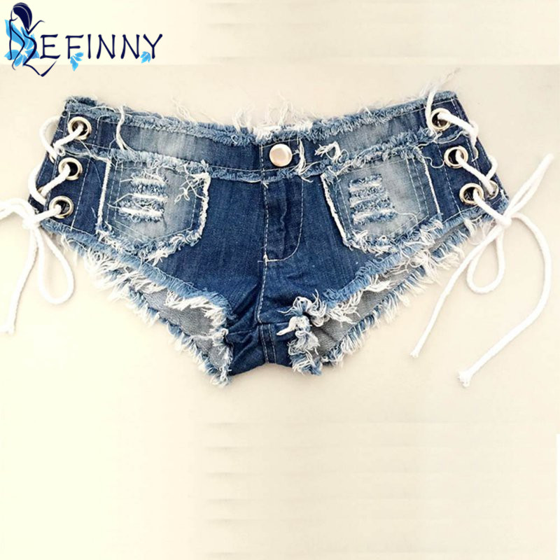 Sexy Girl Crystal   Shorts   Jeans Denim Micro Mini Jean Ultra Low Rise Waist Summer Women's Clubwear Pole Dance