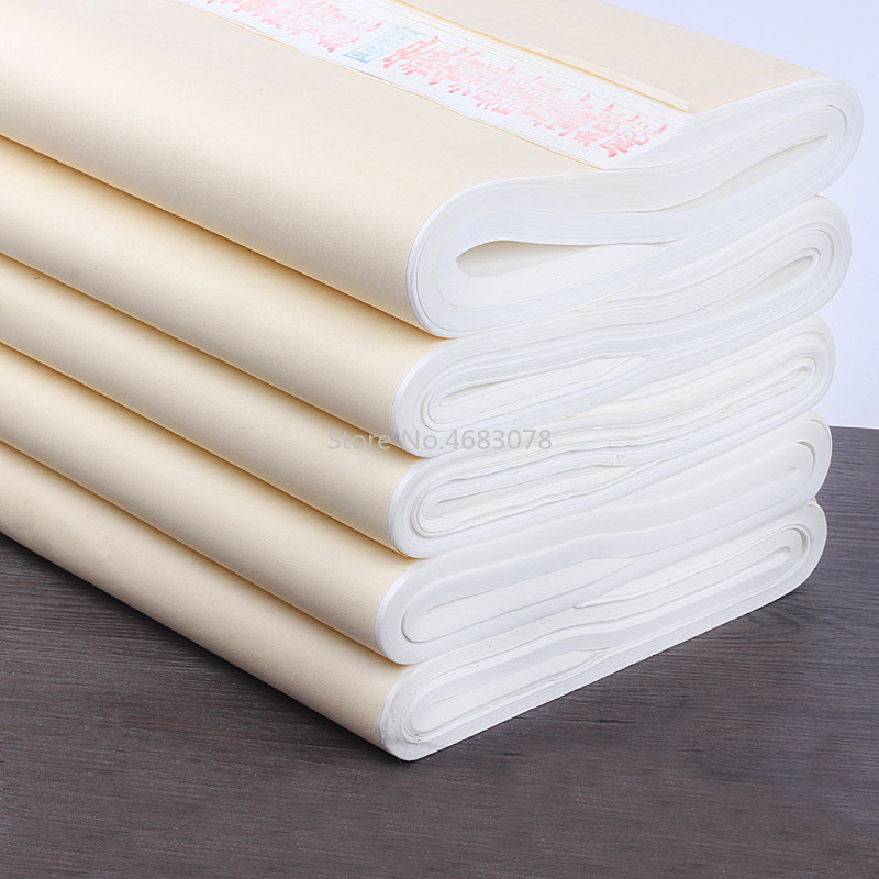 100pcs Xuan Paper Chinese Semi-Raw Rice Paper For Chinese Painting Calligraphy Or Paper Handicraft Supplies