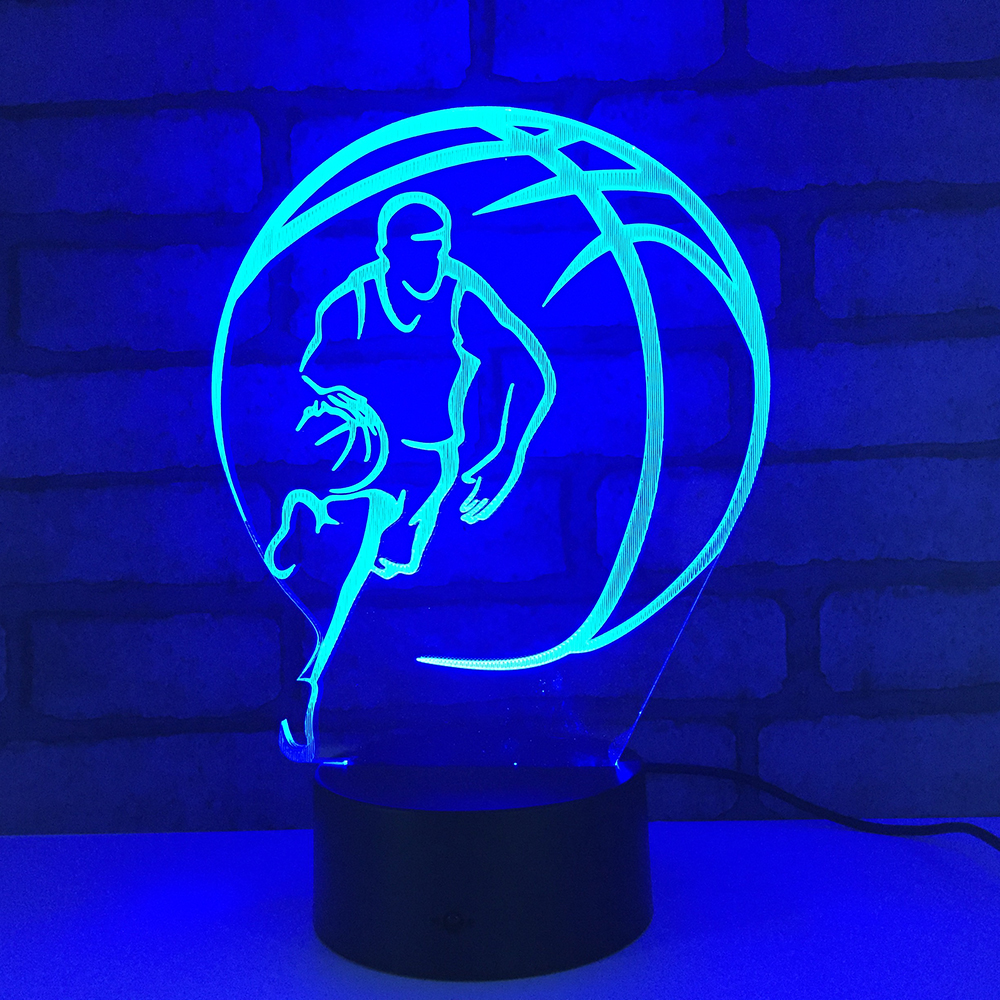 Basketball Player LED RGB Night Light 7 Color Change Desk Light Action Figures 1871 Boys Girls Christmas Toys image