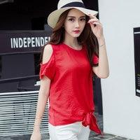Korean Off Shoulder Short Sleeve Summer T Shirt Female Loose Bows Hollow Out Tee Women S