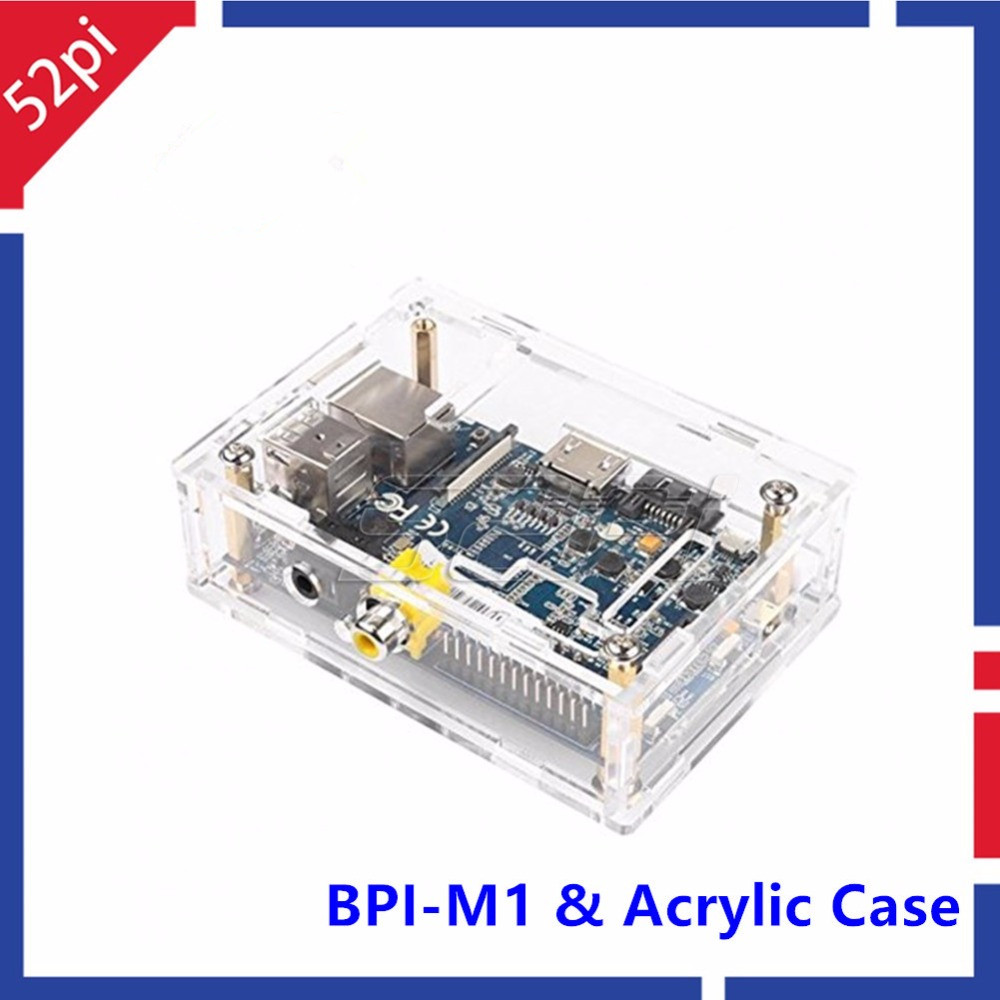 Banana Pi M1 A20 Dual Core 1GB RAM Open-source Development Board & Transparent Clear Acrylic Case Box for Banana Pi M1