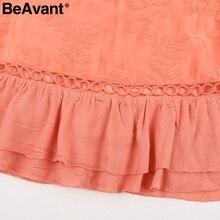 BeAvant Chiffon ruffle summer dress Women batwing sleeve streetwear causal dress Hollow out  pink short dress spring vestidos