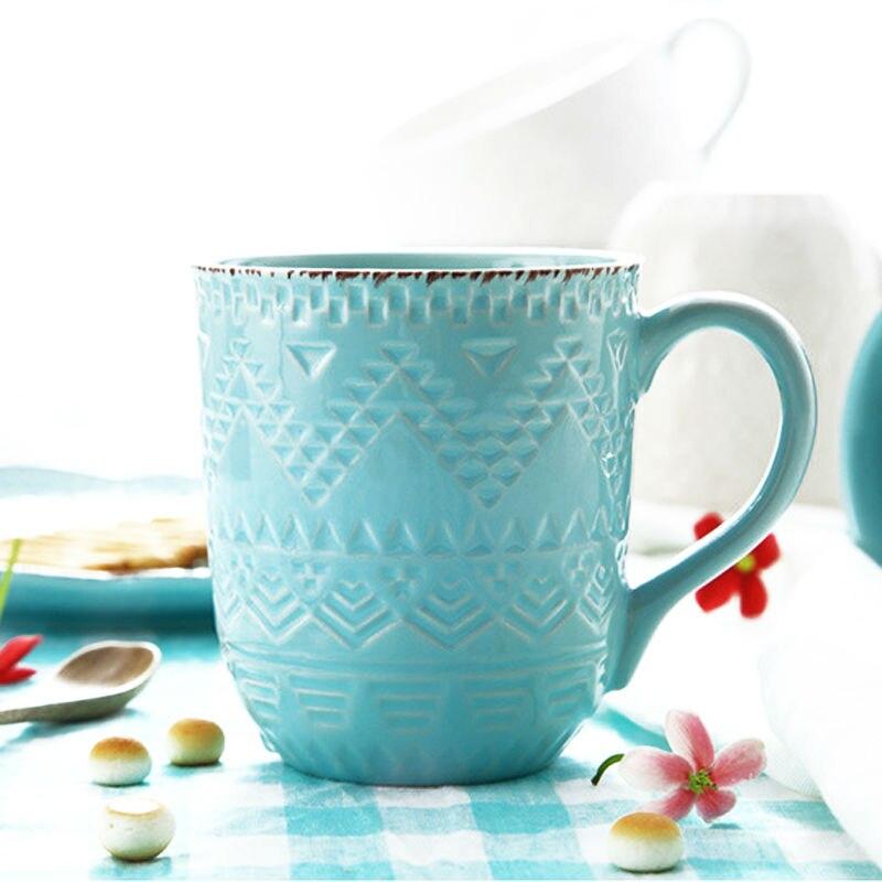 360ml Embossed Glazed Ceramic Mug Tea Cup with Handle Elegant Stoneware Coffee Mug Drinkware for Milk