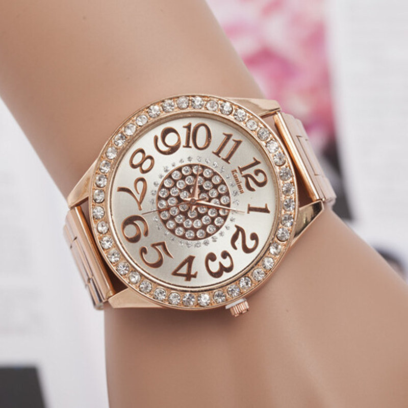 Women Watch New Luxury Brand Fashion Casual Large Dial Design Quartz Watches Stainless Steel Rhinestone Ladies Wristwatches
