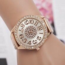 Women Watch New Luxury Brand Fashion Casual Large dial design Quartz Watches Stainless Steel Rhinestone Ladies Wristwatches