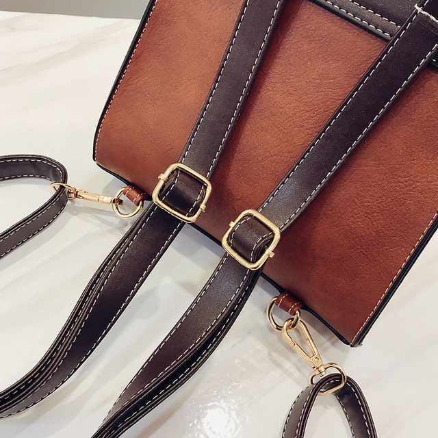 Little Bee Vintage Pu Leather  Simple Preppy Style Backpack
