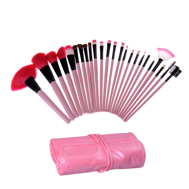 24 pcs Pincel de Maquiagem Profissional Define Cosméticos Escovas Sobrancelha Pó Batons Sombras Compõem Ferramentas Kit de Maquiagem saco de Presente Rosa
