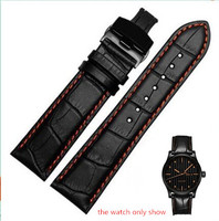 18mm 20mm 22mm New Wholesale Man Genuine Cowhide Leather Handmade Black With Orange Stitches Watch Band