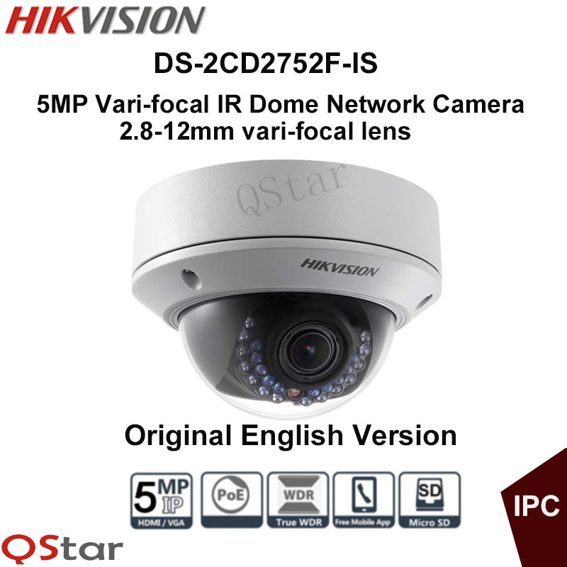 Hikvision Original English Version DS-2CD2752F-IS Audio POE 5MP WDR Vari-focal Lens Dome Network IP Camera CCTV Camera hik origina ds 2cd2642fwd is 4mp wdr 2 7 12mm vari focal lens network hd bullet poe cctv camera