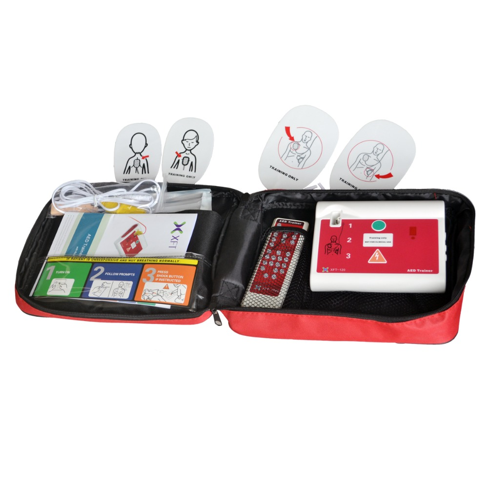US $109 92 71% OFF|Emergency AED Trainer/Simulation Multi Languages Support  With 2Pairs Adult Electrode Pad For Training Use Real Clinical AED Unit-in